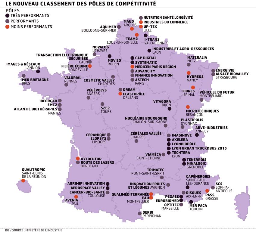 Carte des 71 pôles de compétitivité français. Source: Ministère de l'industrie