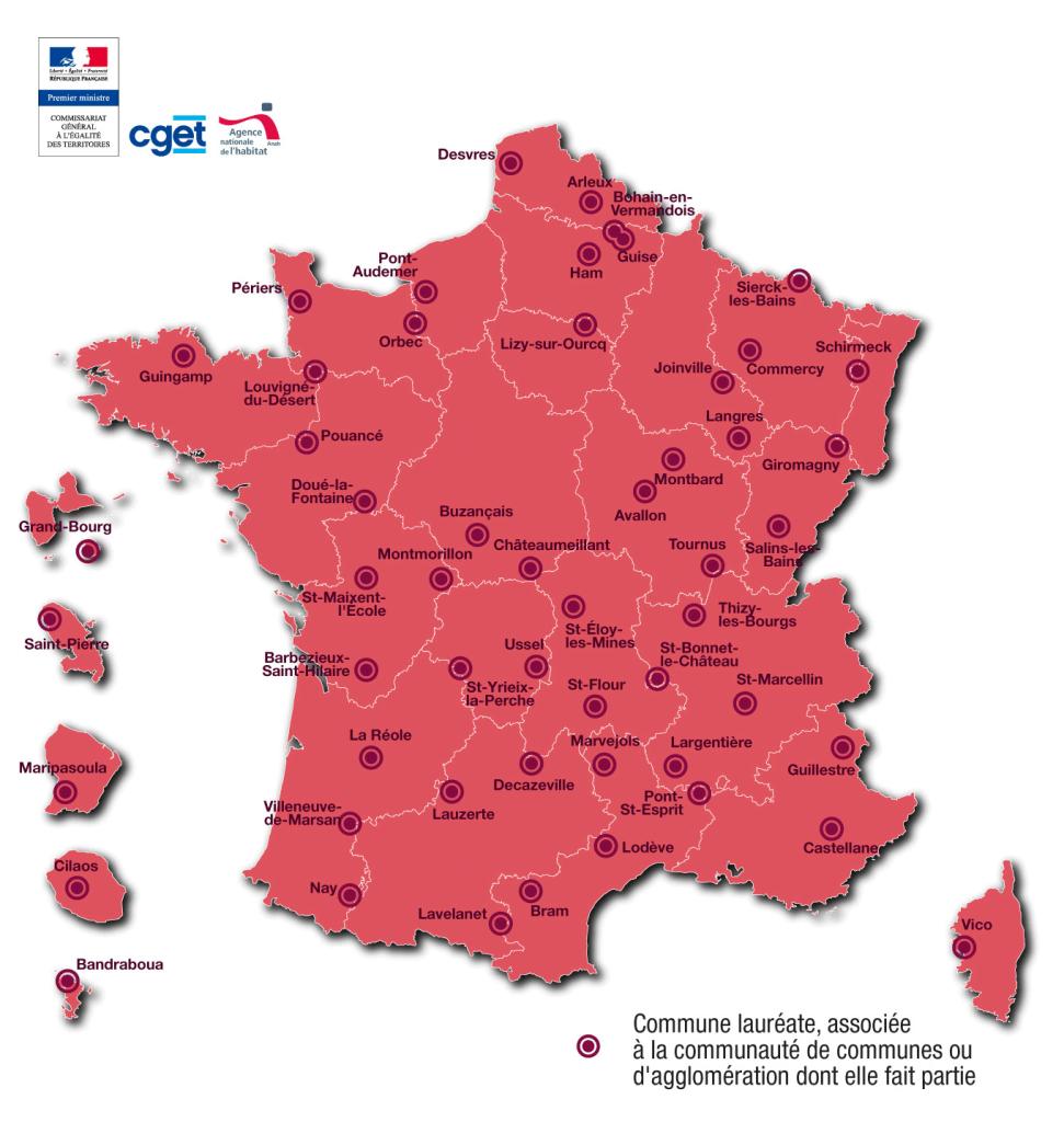 Carte des lauréats de l'appel à manifestation d'intérêt Centres-bourgs - Crédits  CGET  Fonds cartographiques  IGN GéoFla - tous droits réservés