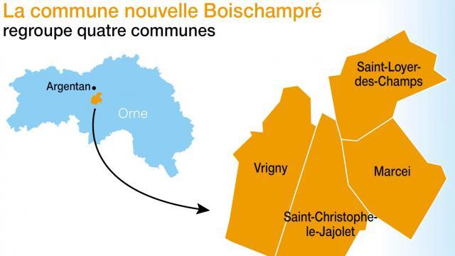 Vrigny, Saint-Loyer-des-Champs, Marcei et Saint-Christophe-le-Jajolet créent une commune nouvelle. Source : Ouest-France