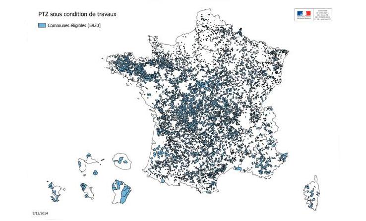 Carte des communes concernées par le prêt à taux à zéro.