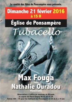 Concert de Tubacello à Ponsampère (Max Fouga Tuba et Nathalie Ouradou Violoncelle)
