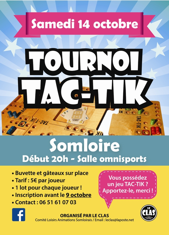 Maine et loire manifestation culturelle tournoi de tac tik agenda somloire 49360 - Comment fabriquer le jeu tac tik ...